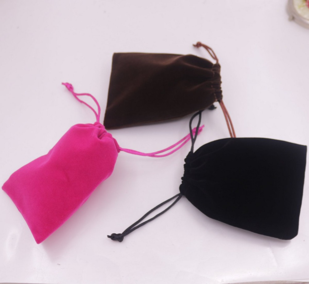 1 pcs Velvet Jewelry Gift Bag Pouch Drawstring Pouches Handmade 9cmX12cm Black Brown Pink Choose
