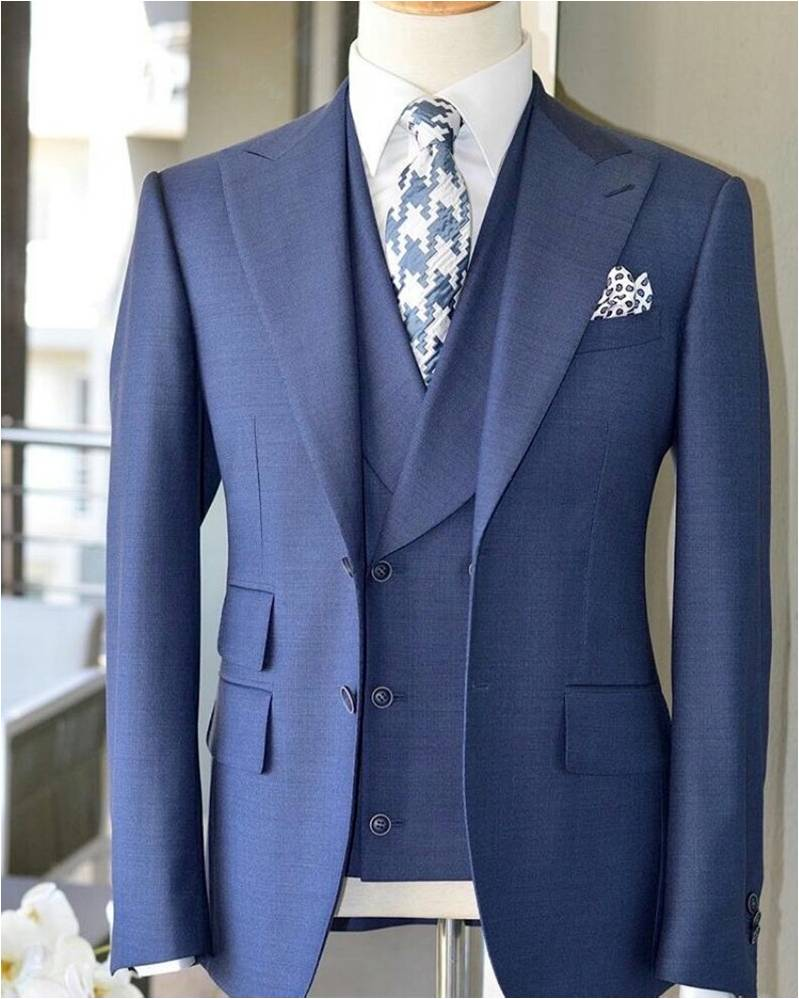 2019 Latest Coat Pant Design Light Blue Men Suit Slim Fit 3 Piece Tuxedo Prom Wedding Suits Custom Groom Blazer Terno Masculino