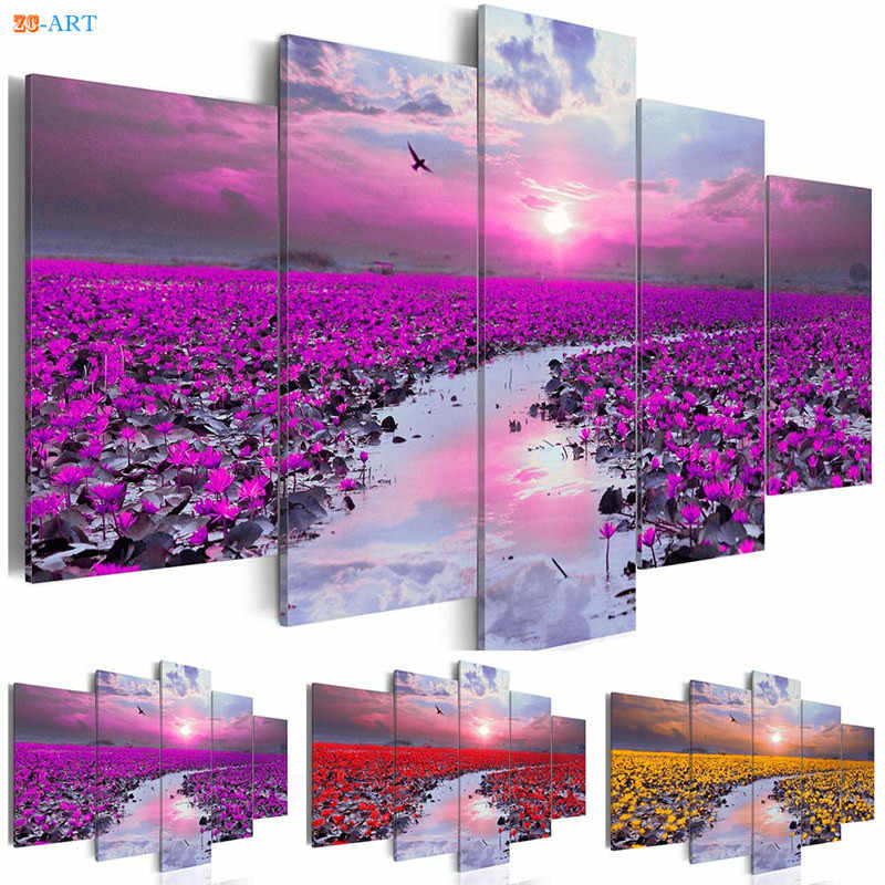 Flowers Prints Natural Landscape Poster Canvas Painting 5 Pieces Modern Wall Art Modular Pictures for Living Room Home Decor
