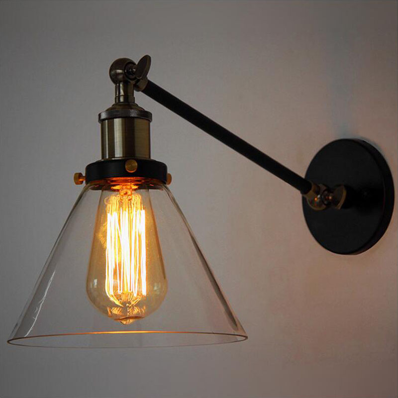 American vintage wall lamp for indoor lighting bedside lamps wall lights with  Clear Glass Lampshade for home 110V/220V E27 american vintage wall lamp for indoor outdoor lighting retro industry wall lights with edison bulb for bedroom black 220v e27