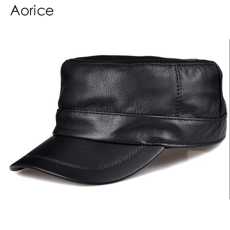 Aorice Genuine Leather Man's Baseball Cap Hat High Quality Men's Adult Solid Adjustable Caps Leisure Fashion Brand Hats HL098 aorice winter genuine sheepskin leather hat brand new men s warm earmuffs hat man baseball caps leisure fashion brand hats hl030