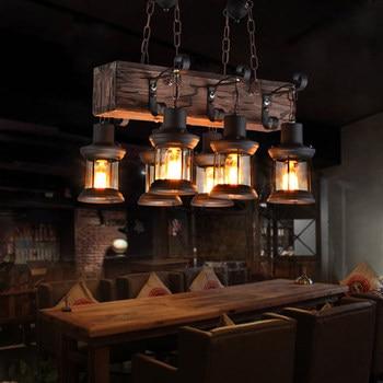 Vintage lámpara de loft Luz de hierro forjado Pantalla de Cristal lámpara...