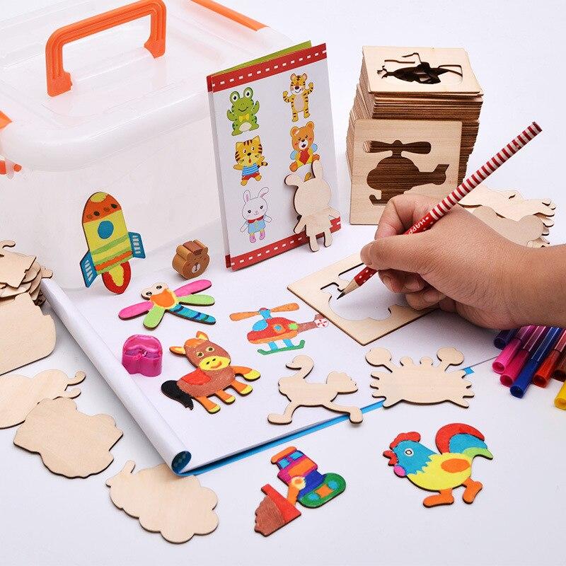 Bayi Mainan Kayu Papan Gambar Set Mainan Pendidikan Dengan Hewan