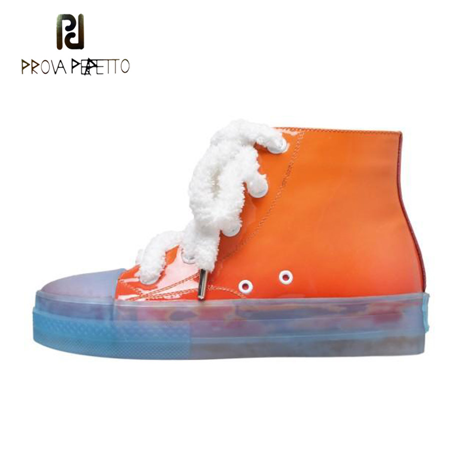 Prova Perfetto 2018 hip hop street style jelly high top women shoes cute candy color lace up casual sneakers women sport shoes 纽约史