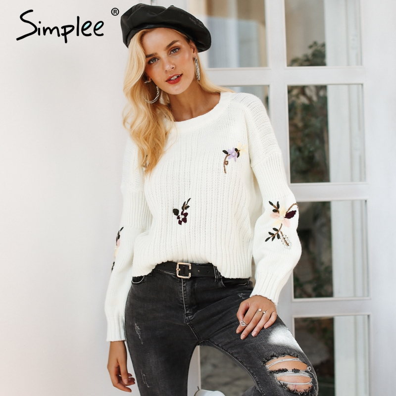Simplee Embroidery Floral Knitted Sweater Women Casual White Winter Pullover Autumn Elegant Streetwear Jumper 2018
