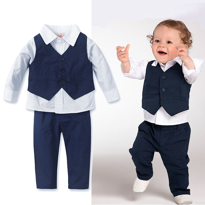 Clothing And Child Boy Formal Long Sleeve Shirt Pants 3 Pieces Set
