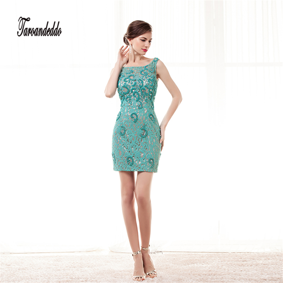 High Neckline Sleeveless Mint Green Lace with Beading Nude Lining ...