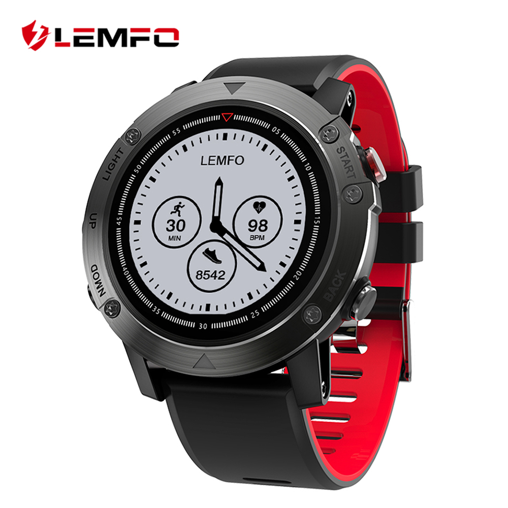 LEMFO LES3 Smart Watch Heart Rate Monitor Smartwatch Smart Watch GPS Waterproof Multi Sport with Compass & Back Light