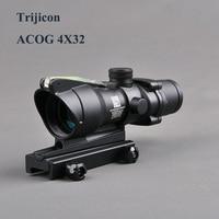 Hunting ACOG 4X32 Scope Fiber Source Red Green Illuminated Optic Scope Tactical Riflescope Sniper Gear Outdoor