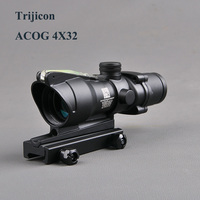 Hunting ACOG 4X32 Scope Fiber Source Red Green Illuminated Optic Scope Tactical Riflescope Sniper Gear Outdoor