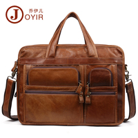 JOYIR Vintage Men Genuine Leather Briefcase Men 15 Laptop Handbag Cow 3 Layers Business Messenger Bags Leather Shoulder Bags