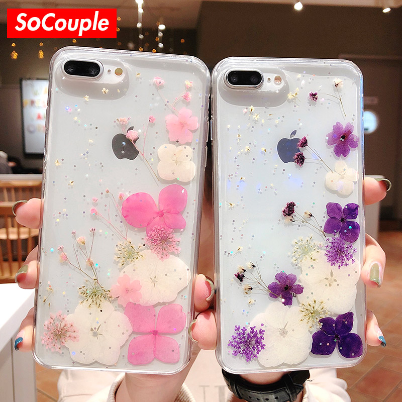 SoCouple Real Flowers Dried Flowers Soft TPU Case For iPhone X 6 6S 7 8 plus Phone Case For iphone XS Max XR Transparent Cover