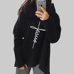 2018 New Fashion Faith Print Kawaii Tops Sweatshirt Femmes Hoodies Women Clothings Print Youth Pattern Buckle Autumn 2