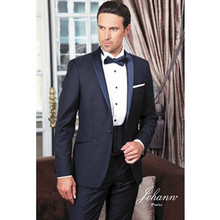 modern slim fit suit fashion 2017 custom made suit for wedding groom tuxedo navy blue high quality 2 piece