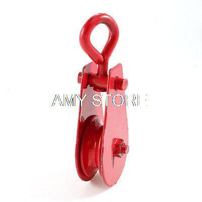 0.2 Ton Red 48mm Dia Single Sheave Swivel Eye Rope Pulley Tackle Rigging
