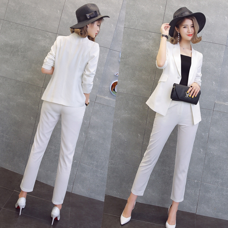 d2bd8d3790a 2 Piece Set Women Black Pink Yellow Red White Pants Suits Cardigan Trousers  Autumn Plus Size Office Women Pant Suits-in Pant Suits from Women s  Clothing on ...