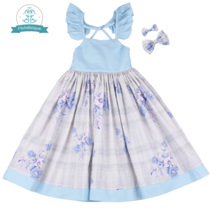 Image 4 - Flofallzique Cotton Vintage Printed Floral Sweet Kids Clothes With tow bow Clips Party Wedding Casual Cute girls dress  1 10Y