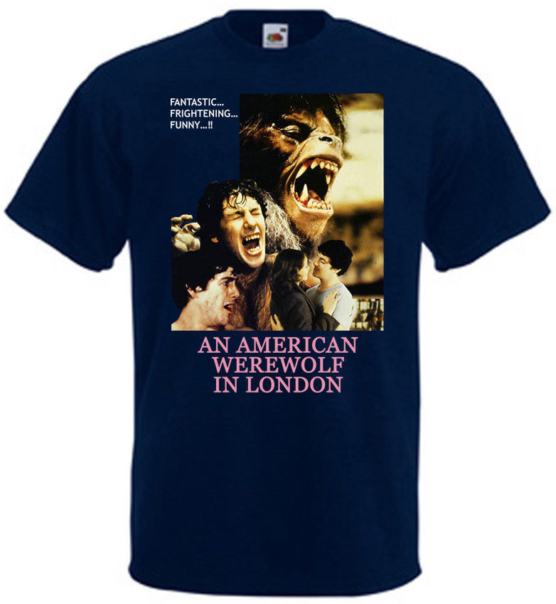 An American Werewolf In London v.6 T shirt navy movie poster all sizes S-3XL Shirt Cotton Hight Quality Man T-Shirt image