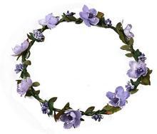 Boho floral head wreath with ribbon Wedding bride bridesmaid Beach Wreaths Hairband artificial flower wreath Decor