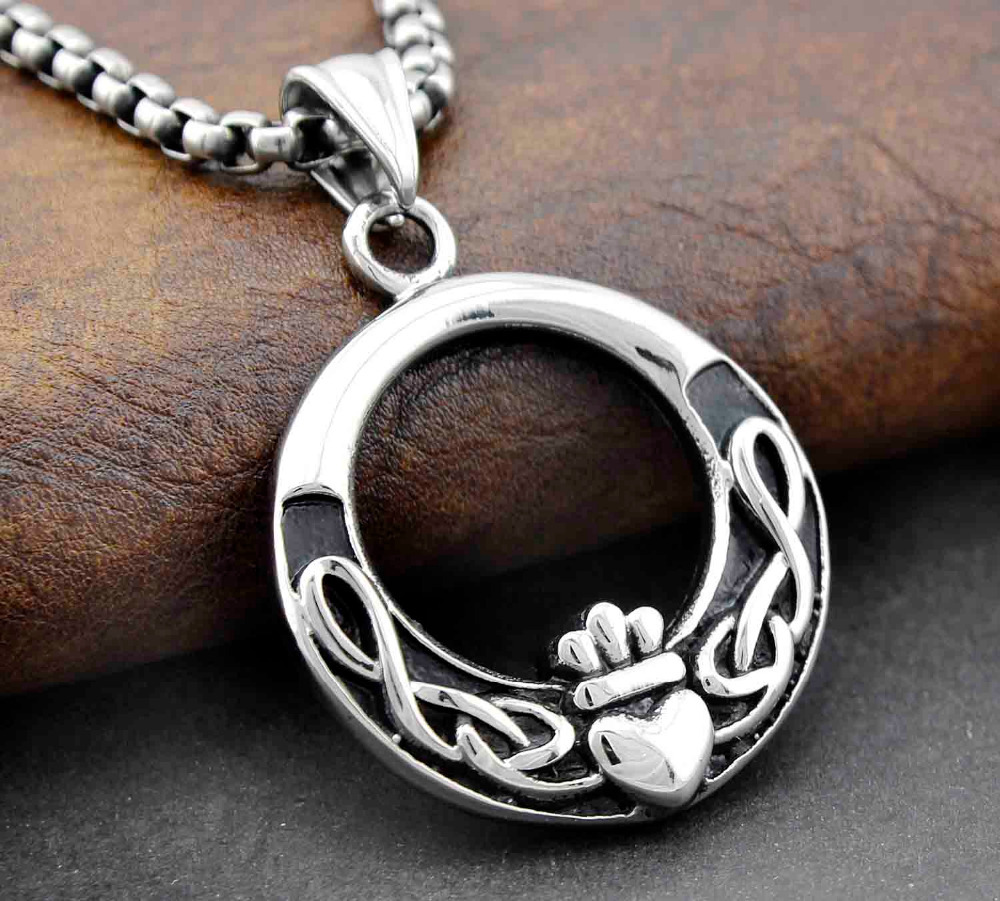 Stainless steel irish celtic claddagh love knot pendant necklace stainless steel irish celtic claddagh love knot pendant necklace chain jewelry in pendants from jewelry accessories on aliexpress alibaba group aloadofball Image collections