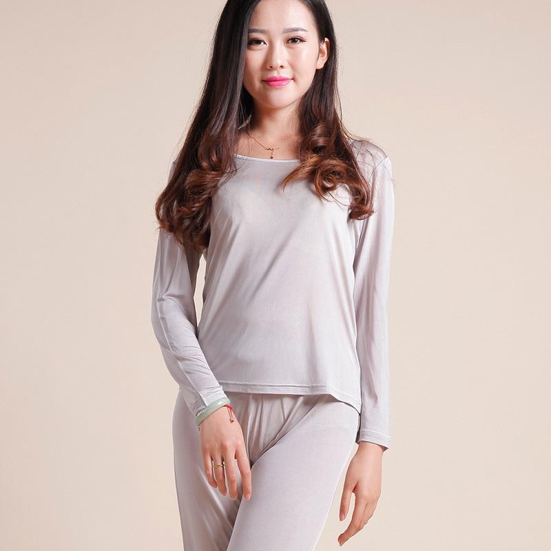 Natural Silk Ladies Autumn Clothes Thermal Top +Long Pants Underwear Set Long Sleeve Bottoming Shirt Leggings Healthy Sleepwear