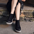 Original new winter thick bottom sponge women boots waterproof genuine leather boots naked female ankle boots A16CCYN82375