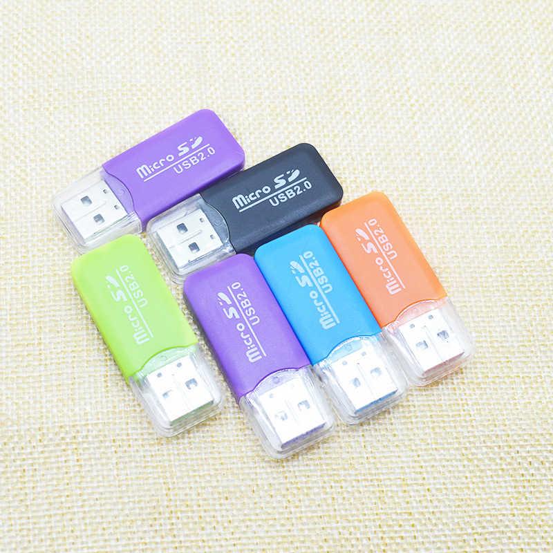 Mini USB 2.0 czytnik kart dla karty Micro SD karty TF Adapter losowy kolor Plug and Play pamięci komputera czytnik kart