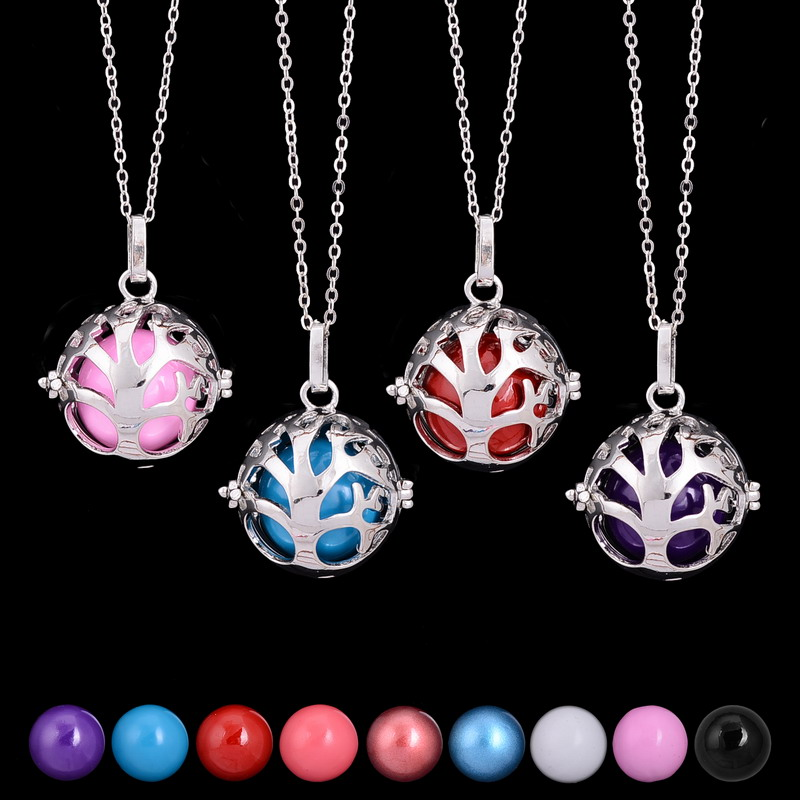 Baby Gift Jewelry For Mom : Tree of life bell necklaces silver color chains purple