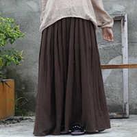 Johnature 2019 女性新綿リネン Elastice ウエスト床の長さの秋プリーツ固体ボタンカジュアルロングスカート