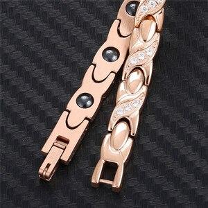 Image 4 - NHGBFT pulsera de acero inoxidable de Color dorado para hombre y mujer, brazalete de cristal negro con movimiento saludable, Color rosa nuevo