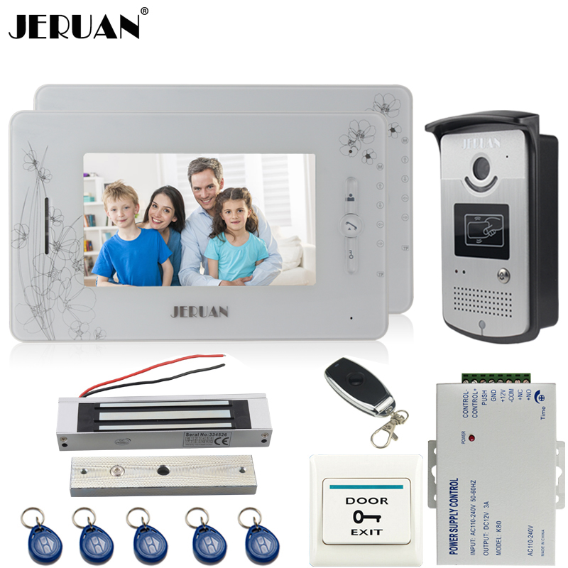JERUAN two 7 inct monitor TFT color video door phone intercom system 700TVL new RFID Access IR Night Vision Camera elikor оптима 60 медный антик