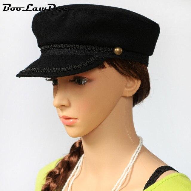 BooLawDee Женщин кружевные украшения черный шерстяной военная шляпа случайный Весна Осень Зима cap тепловой носить 55 см 57 см 59 см 4A005