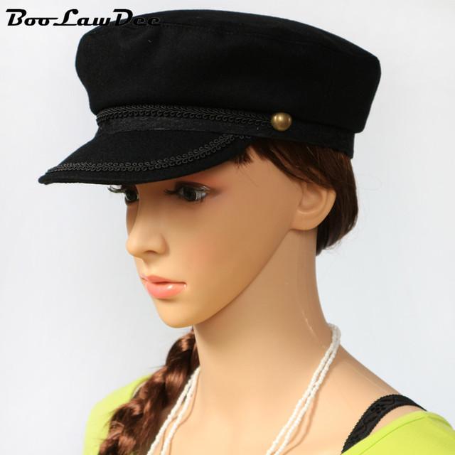 Boolawdee mujeres decoración del cordón del negro de lana sombrero militar ocasional otoño invierno cap térmica usando 55 cm 57 cm 59 cm 4a005