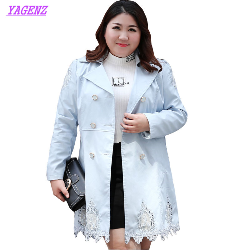 Plus size Windbreaker Coat Spring Autumn Women Lace Stitching Long Trenchcoat Young Ladies High quality Slim Long Coat 6XL B583