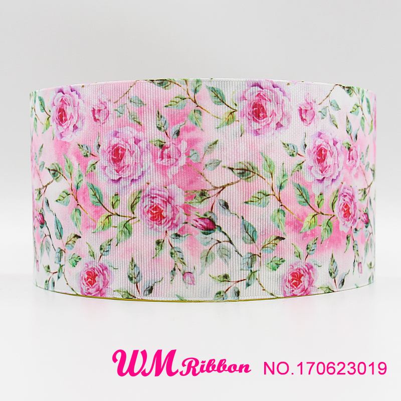 Q&N ribbon 3inch 75mm rose printed grosgrain ribbon webbing 50yards/roll for headband hair bows free shipping-in Ribbons from Home & Garden    1