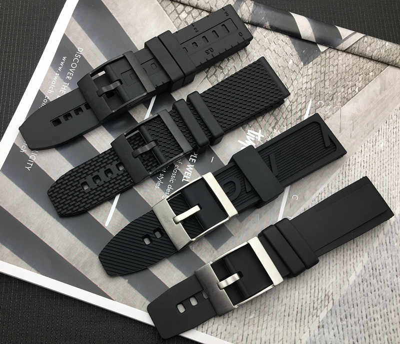 Luxury Brand Soft Rubber silicone Watch band 20mm 22mm 24mm Black bird Watchband Bracelet For navitimer/avenger/Breitling strap