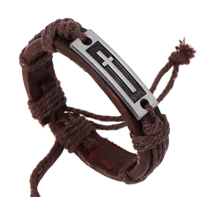 Vintage Brown Color Genuine Leather Hemp Cord Cross Bracelet for Women High Quality Handmade DIY Bangle Jewelry