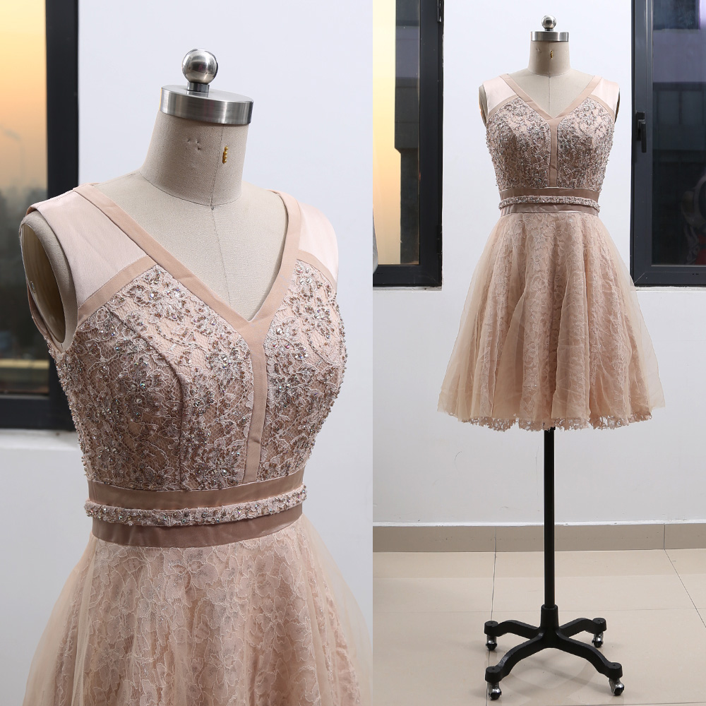 MACloth Blush Short V Neck Knee-Length Short Embroidery Lace   Cocktail     Dresses     Dress   S 264604 Clearance