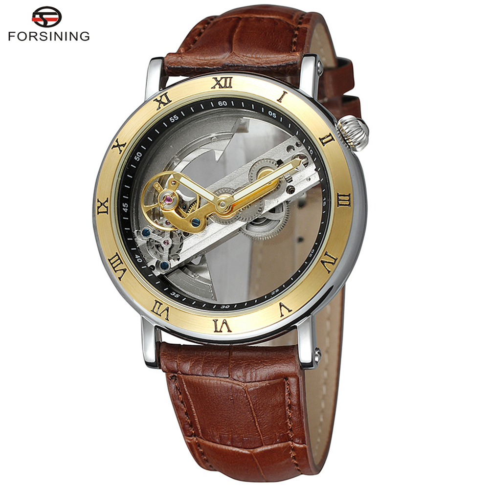 цена на FORSINING Brand Men Simple Style Skeleton Leather Strap Automatic Mechanical Watch Fashion Male Wristwatch Relogio Releges