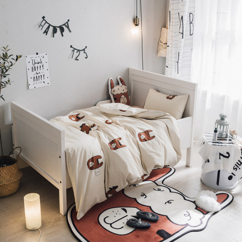 3Pcs/Set Nordic Style Baby Bedding Set 100% Cotton Alpaca Pattern Newborn Crib Quilt Cover Bed Sheets Pillow Case Baby Bedding triangle pattern pillow cover