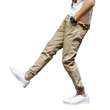 Summer Youth Fashion Men Jeans Jogger Pants Khaki Army Green Black Color Denim Ankle Banded Pants Casual Leisure Cropped Jeans