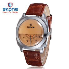 2017 Hot!Casual SKONE Genuine Men & Women Brand Wristwatches Special design Military Leather Sports Watch Relogio Masculino