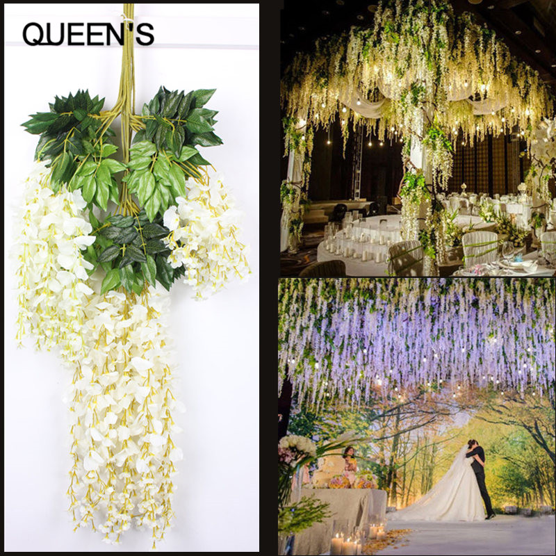 High quality artificial decorative wisteria flowers plastic artificial decorative wisteria flowers plastic wedding decoration flowers 500pcslot free shipping in artificial dried flowers from home garden on junglespirit Choice Image