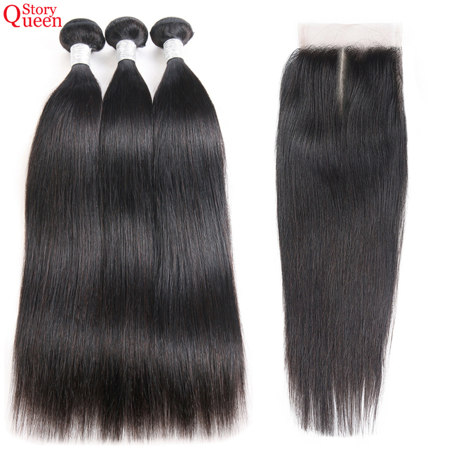 Queen Story Straight Hair Bundles With Closure Middle Part Brazilian