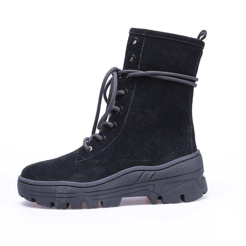 Talons Étanche Femmes Armée Vache forme Automne Wetkiss Daim Haute brown En Boot Épais Femelle Plate Rond Bottines Bout Chaussures Noir pEOwfq0