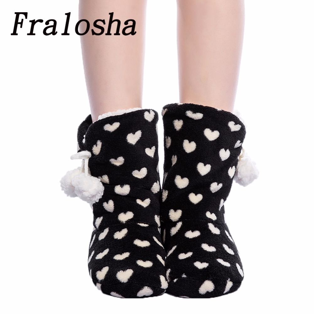 FRALOSHA thick plush warm indoor boots floor shoes shoes non-slip soft home shoes boots and the same bathrobe series white love цена