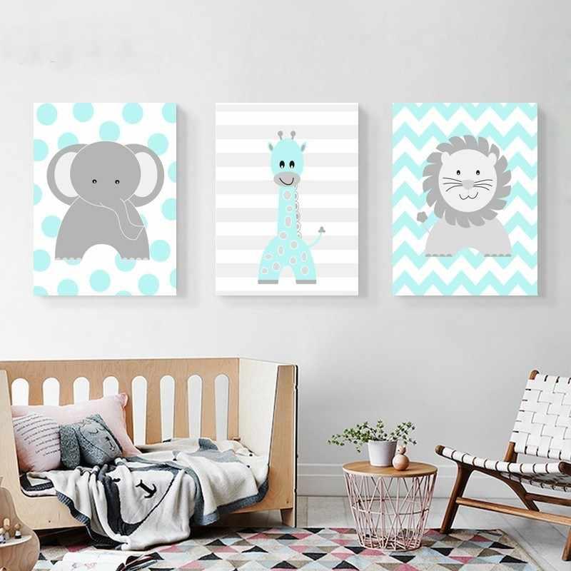 Cartoon Animals Lion Elephant Giraffe Nursery Decor Canvas Paintings Nordic Print Poster Wall Art Picture Boys S Room