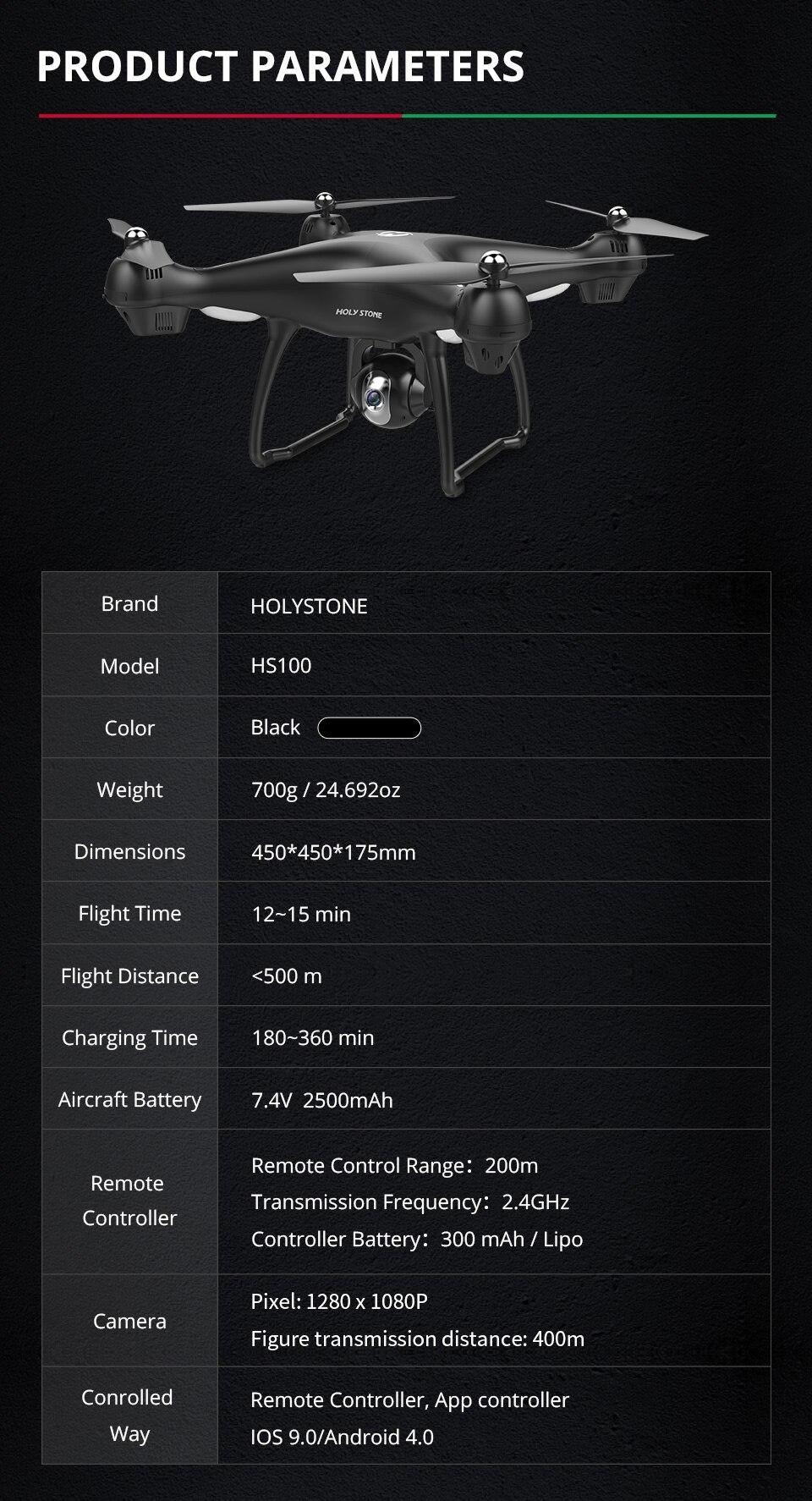 [EU USA JP Stock] Holy Stone HS100 GPS Selfie FPV Drone 500m Flight Range 2500mAh 1080P 7P Camera RC Quadcopter No Tax to EU 15