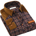 Autumn New Men Casual Plaid Shirts Long Sleeve Patchwork Classic Fit Collar Button-Up Fashion Brand Clothing Men Dress Shirts