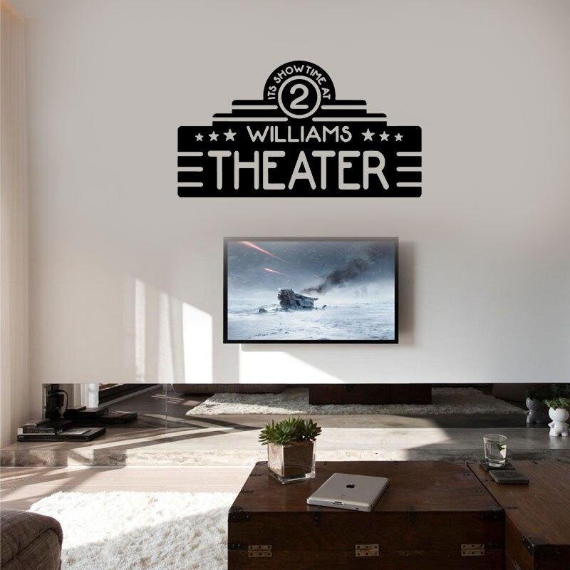 Home Theater Decor Custom Name Movie Wall Vinyl Sticker